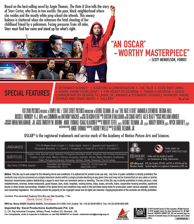 The Hate U Give (Blu-Ray) with Hindi DD5 1